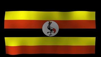 vídeo de stock de bucle de movimiento de 4k de bandera de Uganda