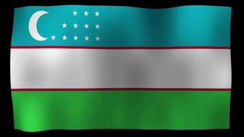 vídeo de stock de bucle de movimiento de 4k de bandera de uzbekistán