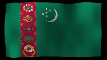 vídeo de stock de bucle de movimiento de 4k de bandera de turkmenistán