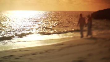 Couple walk along sandy beach at sunset