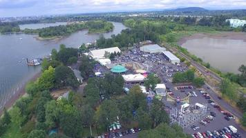 Aerial Footage Over Small Amusement Park