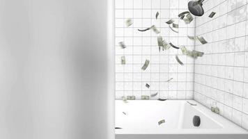 dinero detrás de la cortina de la ducha 4k gráfico de movimiento