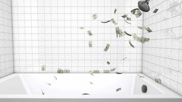 duchando dinero 4k gráfico de movimiento