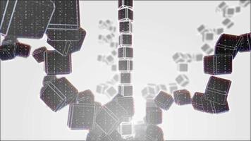 spirale di cubo bianco e nero in 4K video