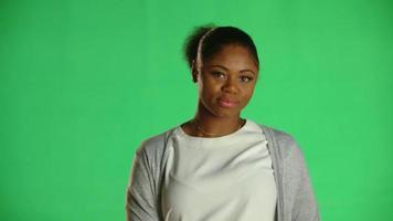 joven, mujer americana africana, coqueta, reír, 1