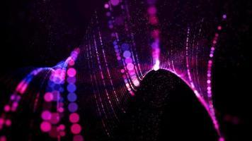 malla violeta formada con líneas punteadas con movimiento retorcido