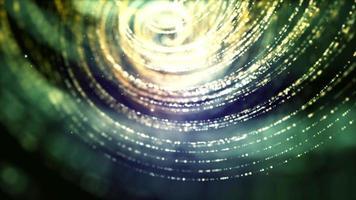 linhas finas brilhantes pontilhadas verdes flutuando e girando em espirais