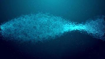 blaues 4k verdrehtes Plasma und Partikel, die sich auf dunkelblauer Flüssigkeit drehen video