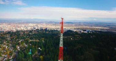 Aerial Drone Shot of Oregon Radio Tower and forest in 4K