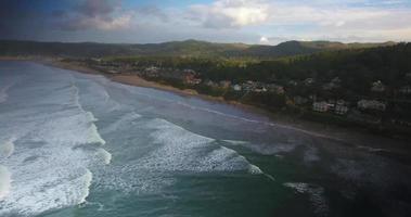 Aerial Drone Shot of Seashore Overlooking Canon Beach in 4K