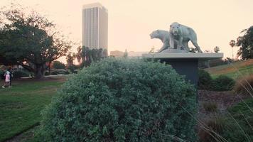 foto de rastreamento indo para a esquerda de esculturas e jardim em poços de la Brea tar em 4k video