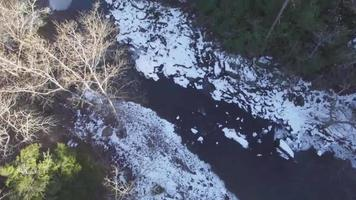 Drone flying over icy river in North Carolina | Free Stock Footage