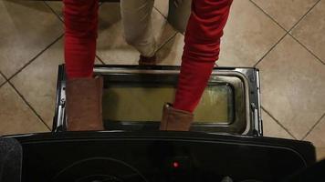 tiro aéreo da mulher abrindo forno com luvas de forno | filme de arquivo grátis video
