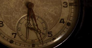 close-up extremo dos ponteiros do relógio movendo-se das 6h20 às 7h em um lapso de tempo 4k video