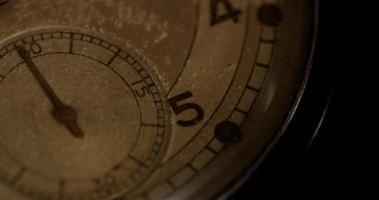 close-up extremo do ponteiro do relógio de segundos movendo-se 60 segundos, começando no segundo 58 em lapso de tempo de 4k