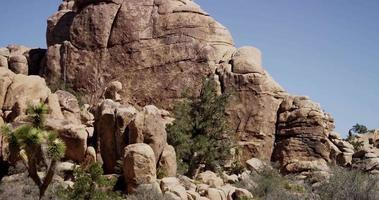 Toma panorámica lenta que va a la derecha de la pequeña colina de roca en un paisaje desértico con arbustos y plantas en primer plano en 4k video