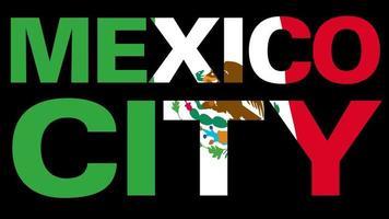 bandeira do México com máscara de tipo em primeiro plano. Cidade do México. video
