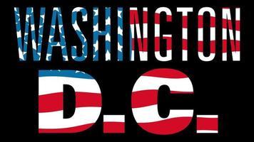bandeira dos Estados Unidos com máscara de tipo em primeiro plano. Washington DC