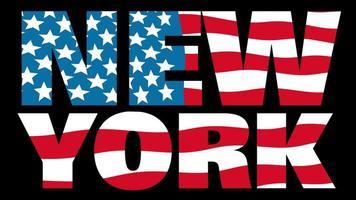 bandeira dos Estados Unidos com máscara de tipo em primeiro plano. Nova york.