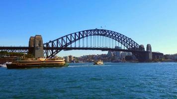 Wide Shot of Harbor Bridge 4K