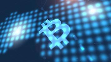 ícone de criptomoeda bitcoin animação azul fundo de tecnologia de mapa mundial digital video