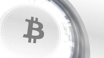 fondo de tecnología de elementos digitales de animación de icono de criptomoneda de bitcoin blanco