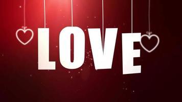 cartas de amor penduradas em um barbante caindo do teto com fundo vermelho