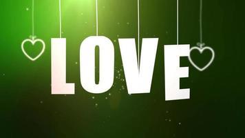 cartas de amor penduradas em um barbante caindo do teto com fundo verde