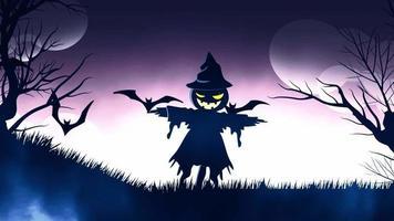 animação de fundo de halloween com o conceito de fundo roxo de espantalho assustador e morcegos