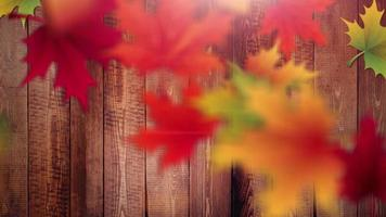 otoño hojas caídas con fondo de madera video de animación de marcador de posición
