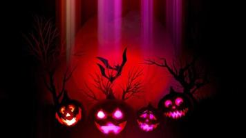 animation of spooky Jack-o-lantern Halloween pumpkins with flying bats with red background
