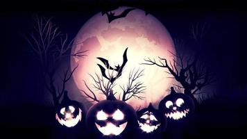 animation of spooky Jack-o-lantern Halloween pumpkins with flying bats with blue background
