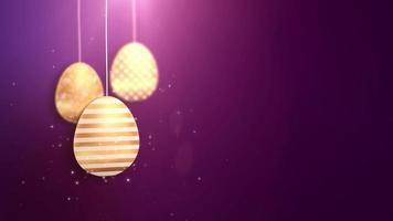 felices pascuas de pascua dorados colgantes de huevos de pascua animados con fondo morado.