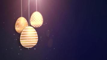 felices pascuas de pascua dorados colgando huevos de pascua animados con fondo azul.