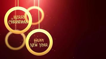 Golden moving bauble ball falling down Merry Christmas Happy New year festive seasonal celebration placeholder red background