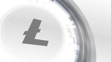 litecoin cryptocurrencyicon animación blanco elementos digitales tecnología fondo
