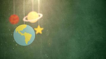 flat design planets falling down hanging on string green background star earth saturn video
