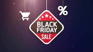 placa de sexta-feira negra pendurada em um barbante com carrinho de compras e ícone de porcentagem