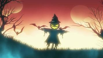 animação de fundo de halloween com o conceito de fundo laranja assustador de espantalho e morcegos