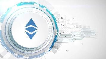 ethereum clásico criptomoneda icono animación blanco elementos digitales tecnología fondo