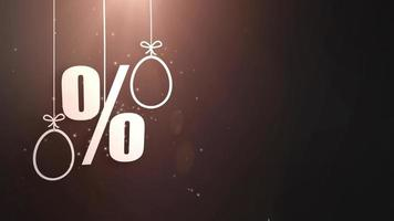 simboli di percentuale con simboli pasquali appesi a corde e un'offerta di acquisto che cade dal soffitto