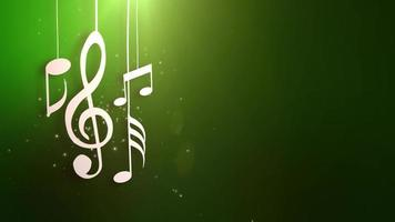 notas musicales que fluyen colgando de cuerdas y cayendo de la animación del techo
