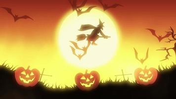 Halloween background animation with the concept of Spooky Pumpkins, Moon and Bats with orange background