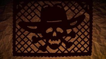 papel picoteado tradicional de una calavera con sombrero