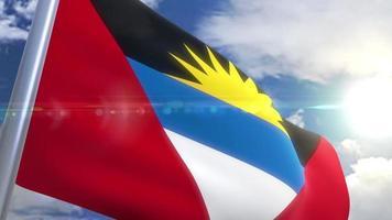 agitando bandeira de animação de Antígua e Barbuda
