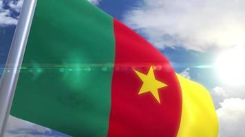 bandera ondeante de camerún animación video
