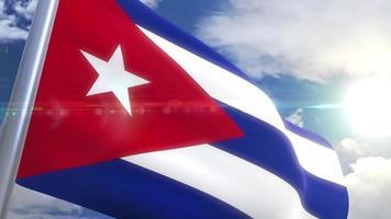 agitando bandeira de cuba animação