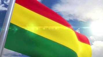 bandera ondeante de bolivia animación video