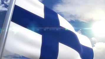 bandera que agita de finlandia animación video