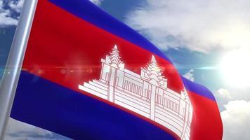 Ondeando la bandera de la animación de Camboya video